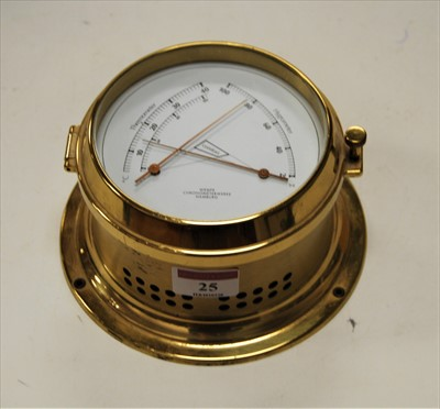 Lot 25-A modern German brass cased thermometer /...