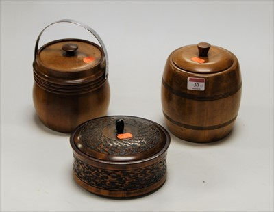 Lot 33-A treen jar and cover of cylindrical form, having ...
