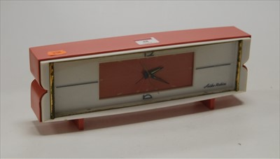 Lot 48-A 1960s Seiko Robin alarm clock, in pink and...