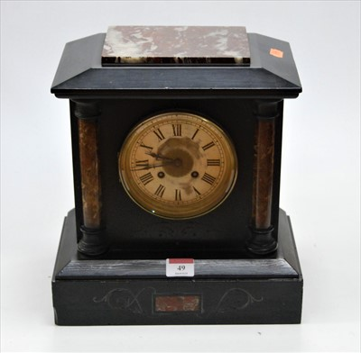 Lot 49-A late Victorian black slate and rouge marble...