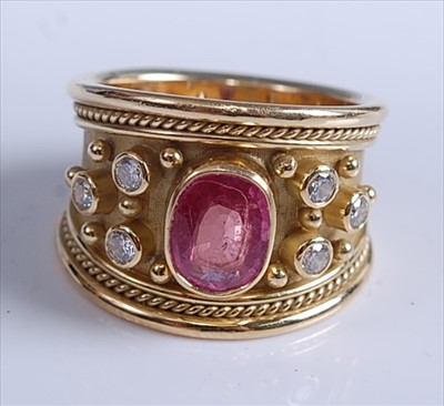 Lot 160-A 1970s 18ct yellow gold, pink sapphire and...