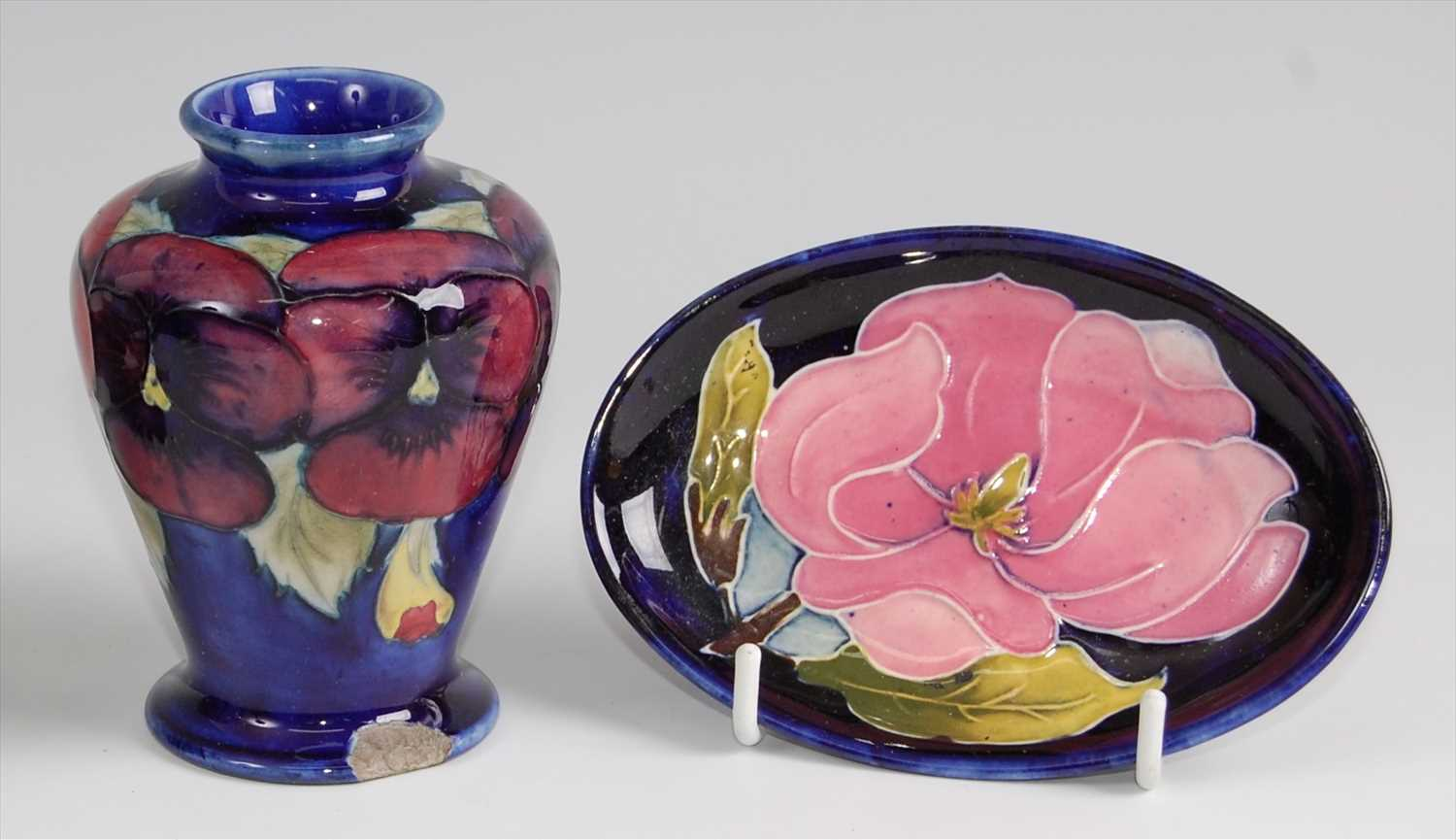 Lot 16-A Moorcroft pottery miniature shouldered tapering ...