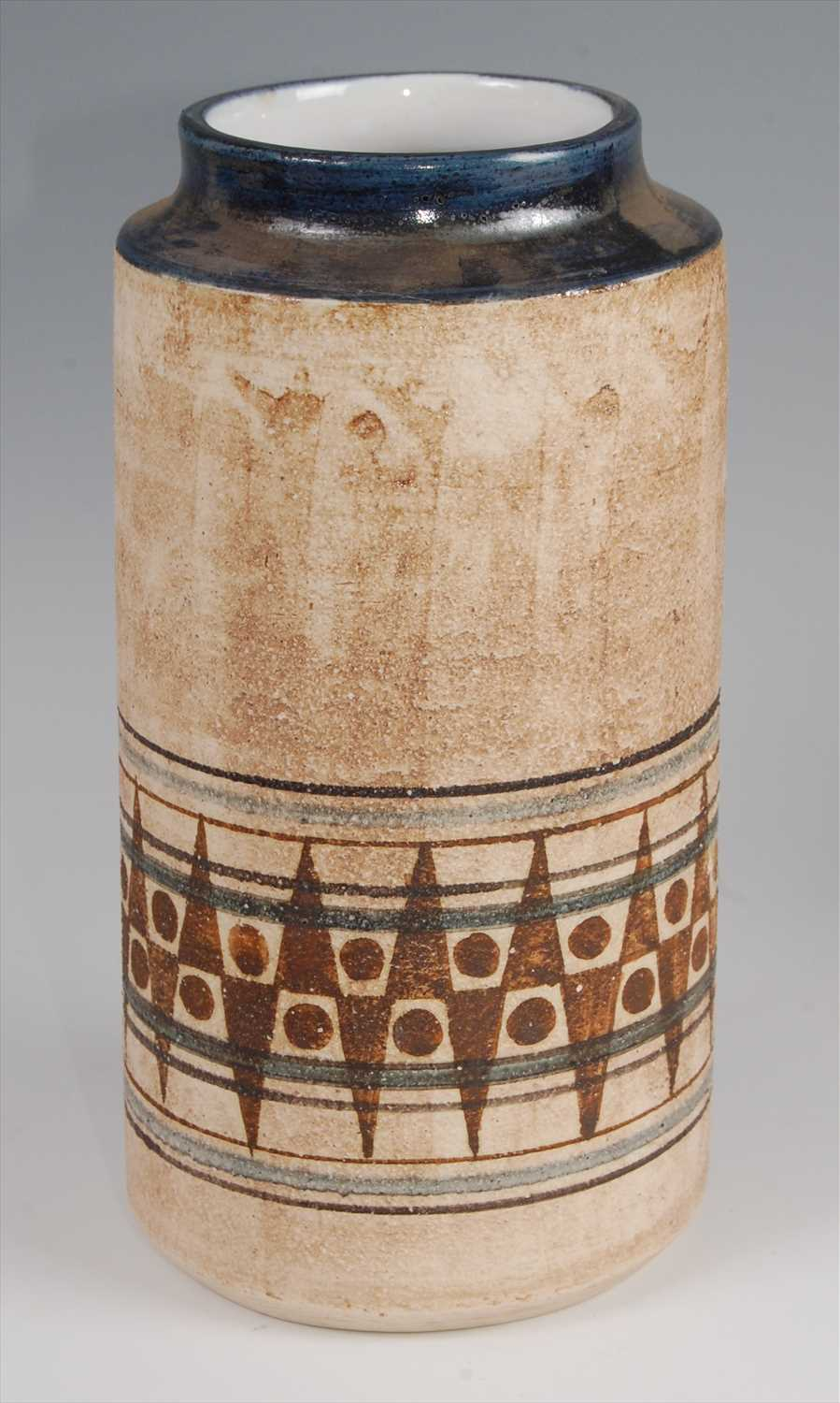 Lot 41-A 1970s Troika cylindrical pottery vase, having...