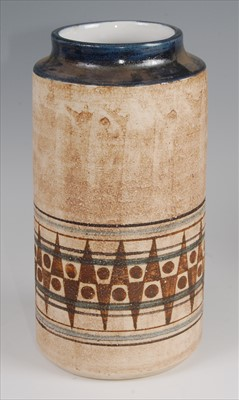 Lot 41 - A 1970s Troika cylindrical pottery vase,...