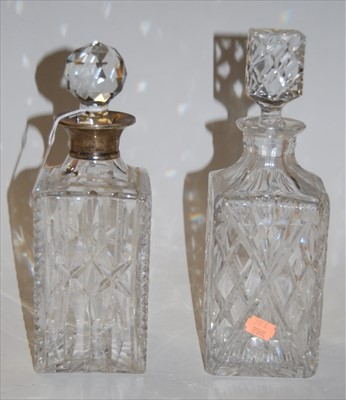 Lot 11-An early 20th century cut glass decanter and...