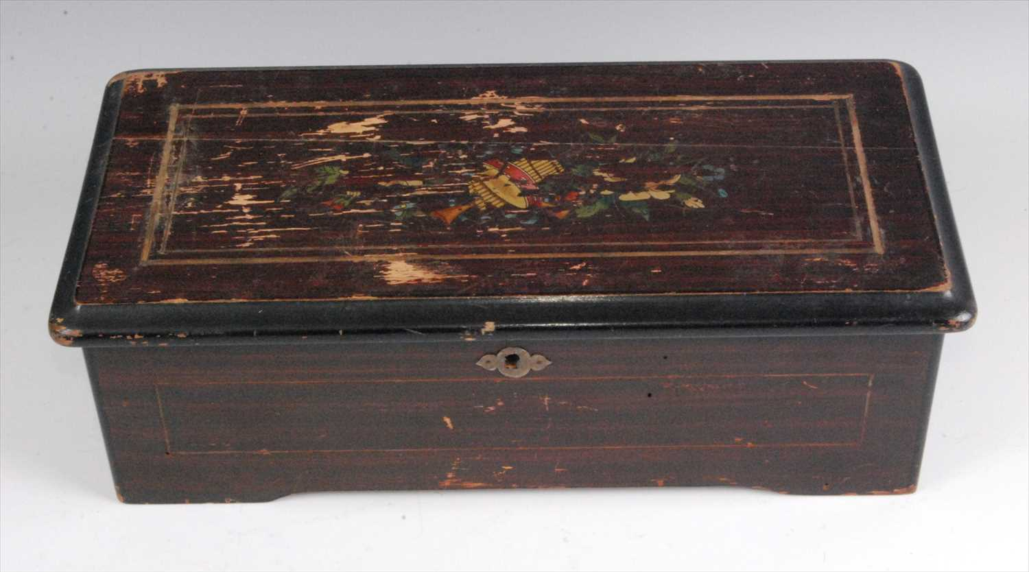 Lot 503-A late 19th century simulated rosewood cased music box