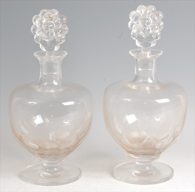Lot 65-A pair of 1920s Lalique crystal glass pedestal...