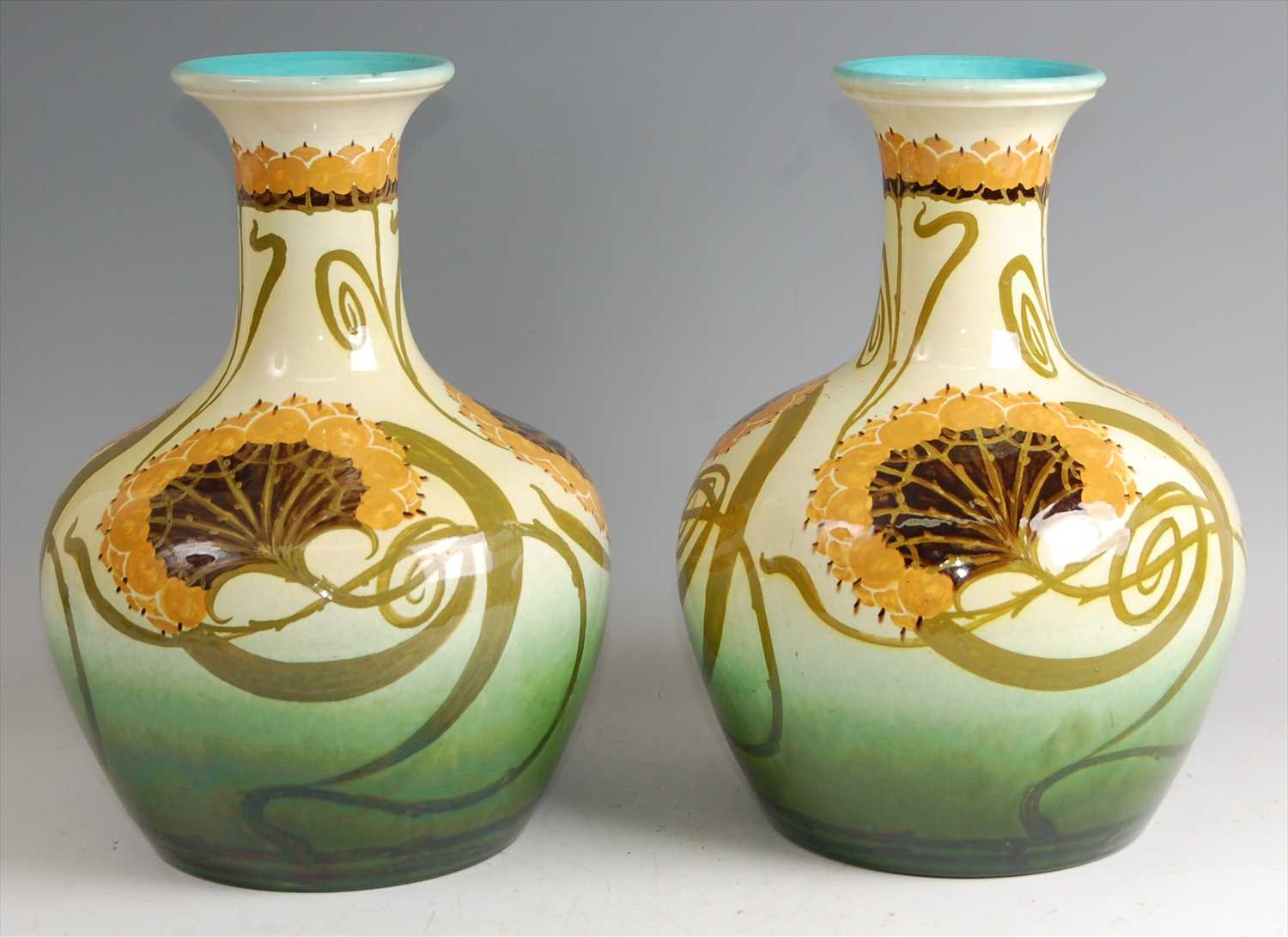 Lot 43-A pair of large Art Nouveau pottery vases, in...