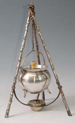 Lot 31-An Arts & Crafts silver plated cauldron on stand, ...