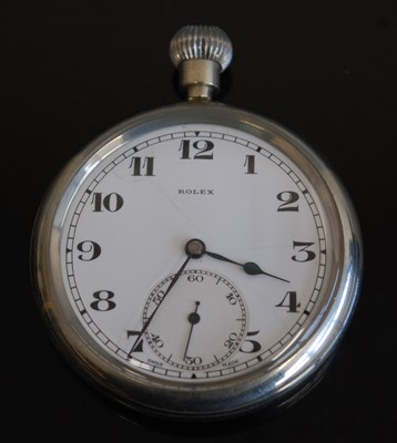 Lot 2-A British military issue Rolex nickel cased open face pocket watch