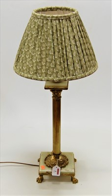 Lot 6-A lacquered brass Corinthian column table lamp on ...