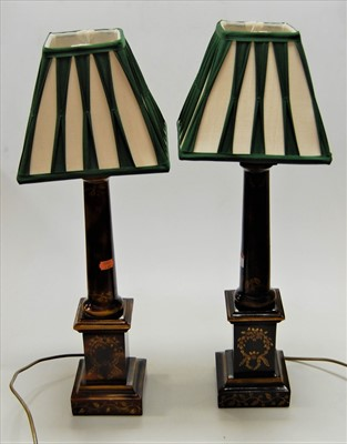 Lot 9-A pair of contemporary toleware style table lamps ...