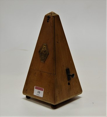 Lot 10-A mid 20th century French walnut cased metronome, ...