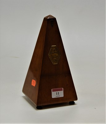 Lot 11-A mid 20th century French walnut cased metronome, ...