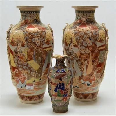 Lot 12-A pair of Japanese Taisho period Satsuma vases,...