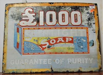 Lot 21-An early 20th century Sunlight Soap enamelled...