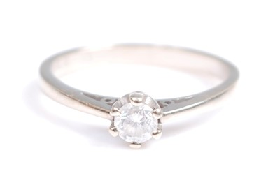 Lot 2042-A 9ct white gold single stone diamond ring,...
