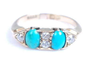 Lot 2044-A late Victorian 18ct yellow gold, turquoise and...