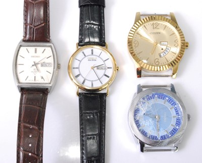 Lot 2024-A gent's Seiko quartz steel cased wristwatch,...