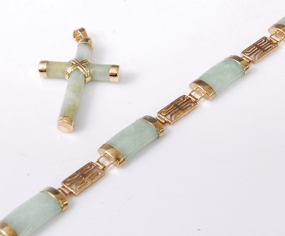 Lot 2039-A 9ct gold and jadeite sectional link bracelet,...