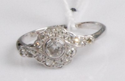 Lot 2045-An Art Deco 18ct white gold and platinum diamond...