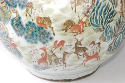 Lot 1348 - A large Chinese famille rose 'deer' vase, of...