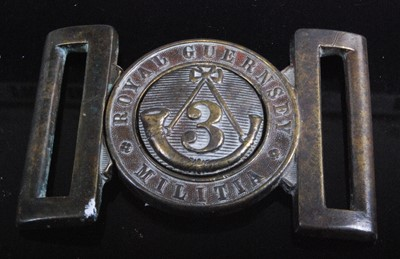 Lot 49-A Royal Guernsey Militia 3rd Battalion brass belt buckle