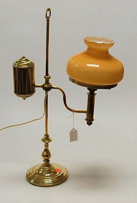 Lot 7-A Victorian brass desk lamp, having rise-and-fall ...