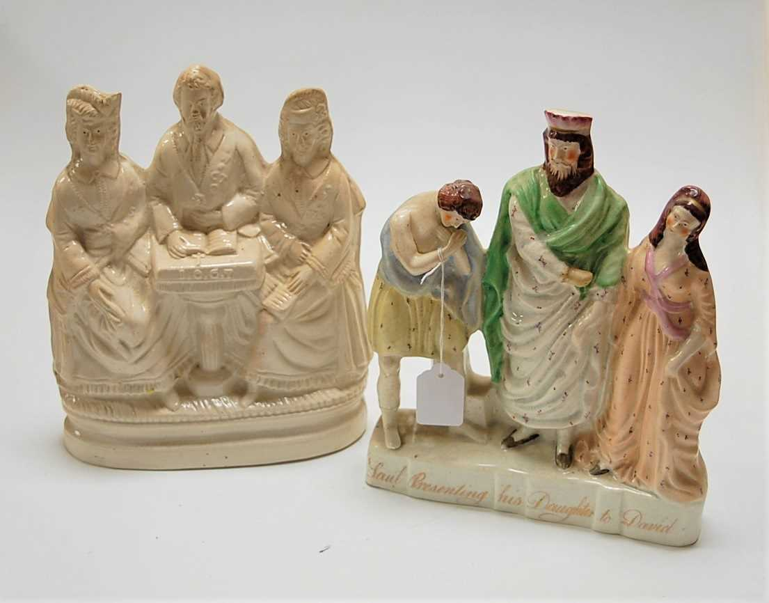 Lot 8-A large Victorian Staffordshire creamware figure...