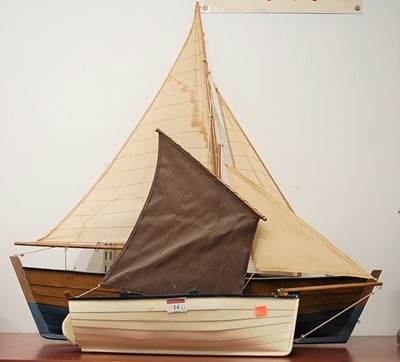 Lot 14-A scratch-built single masted model sailing boat, ...