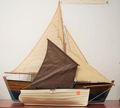 Lot 14-A scratch-built single masted model sailing...
