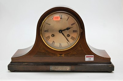 Lot 18 - A George V mahogany and inlaid dome topped...
