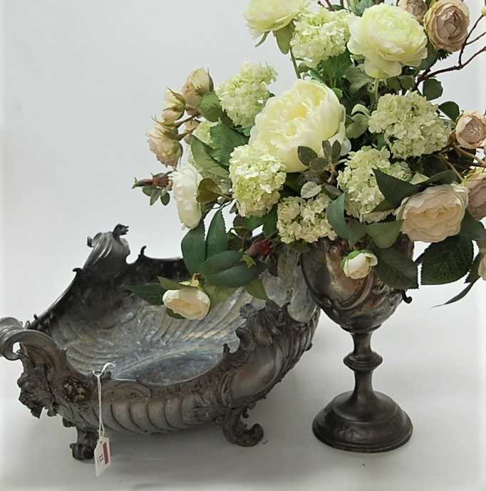 Lot 22-A Rococo Revival silver plated boat shaped...