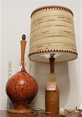 Lot 24-A 1970s Danish turned teak table lamp, having...