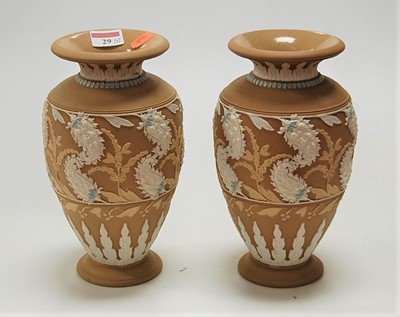 Lot 29-A pair of Doulton silicon ware baluster form...