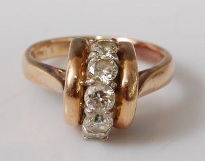 Lot 2504 - A yellow metal diamond five-stone ring, the...
