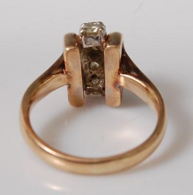 Lot 2504-A yellow metal diamond five-stone ring, the...