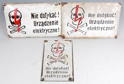 Lot 24-A Polish enamel electrocution warning sign