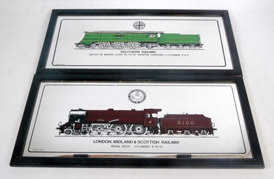 Lot 15 - Six locomotive pictures in plastic frames and...