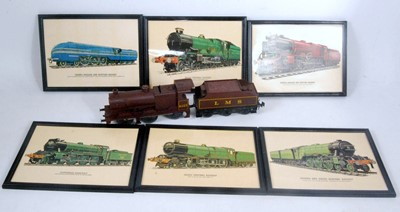 Lot 15-Six locomotive pictures in plastic frames and...