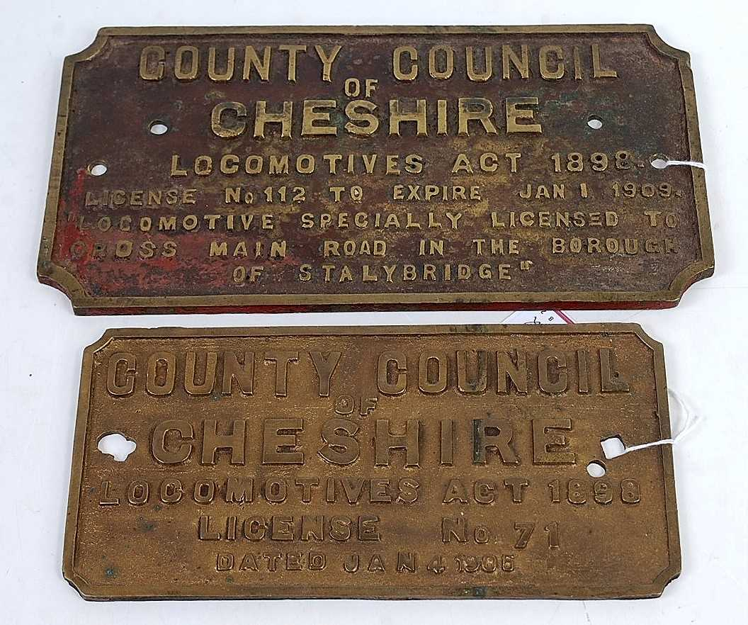 Lot 23-A cast brass license plate County Council of...