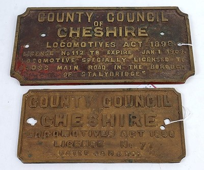 Lot 23 - A cast brass license plate County Council of...