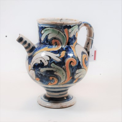Lot 4-An 18th century Majolica glazed wet drug jar,...