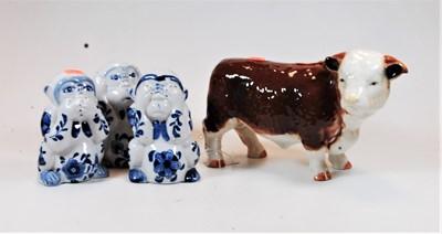 Lot 15-A large ceramic model of a bull, width 26cm,...