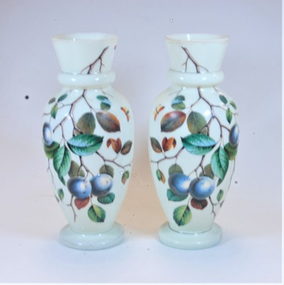 Lot 19-A pair of Victorian opalescent glass vases of...