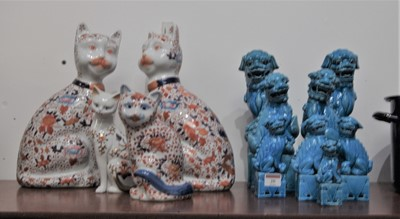 Lot 20-A pair of large turquoise glazed Chinese fo dog...