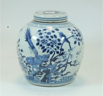 Lot 24-A Chinese stoneware blue & white ginger jar and...