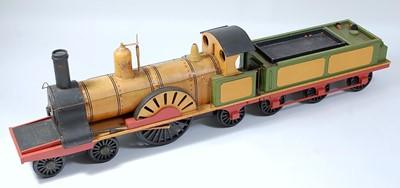 Lot 34 - A wooden scratch built model of a 4-2-2...