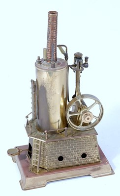 Lot 48-A Wilesco solid brass vertical steam engine,...