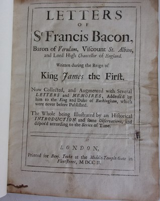 Lot 1003-Bacon, F. Letters of Sir Francis Bacon…....